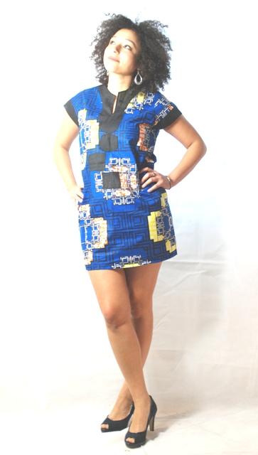robe africaine courte mini robe bleu tissu africain africadada. Black Bedroom Furniture Sets. Home Design Ideas