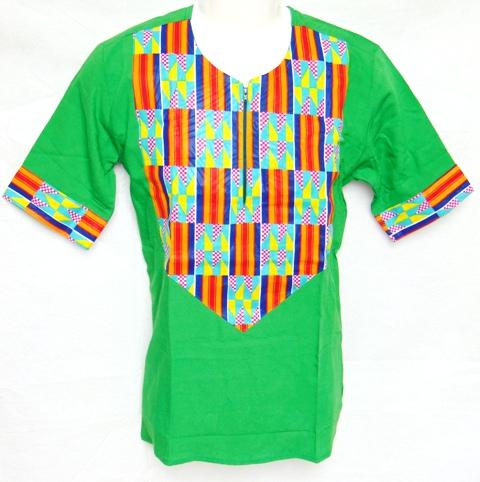 shirt-t-shirt green african fabric